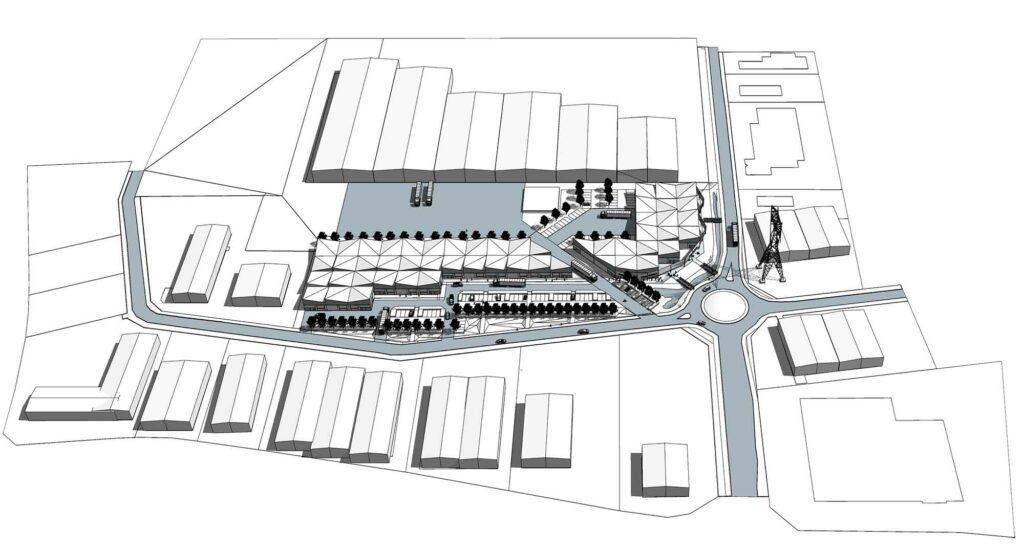Axonométrie Générale - Projet Cub€co - Site Lumière - Carbon Blanc